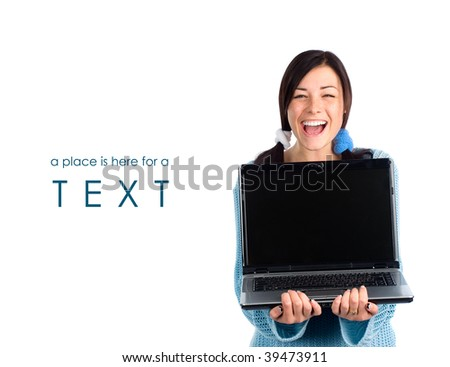 Laughing girl with laptop and a sample of text