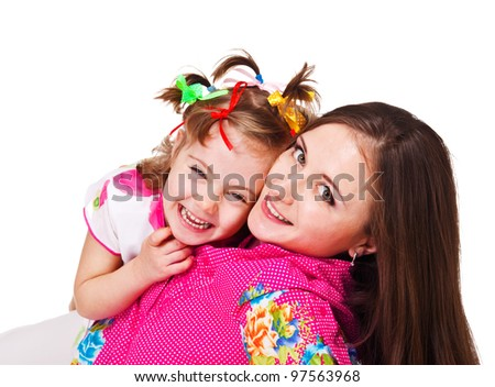Laughing kid and her mother, over white