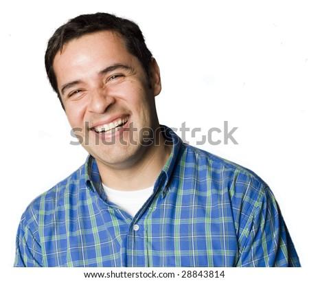 Laughing Latino man portrait - Shutterstock ID 28843814