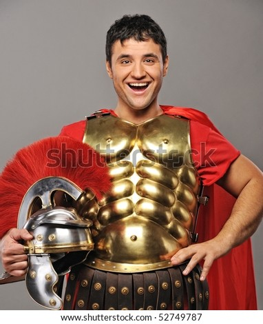 Laughing legionary soldier