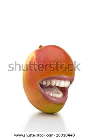 laughING MANGO OVER WHITE BACKGROUND - stock photo