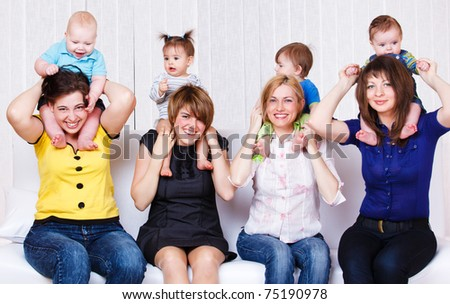 Laughing mothers and their children