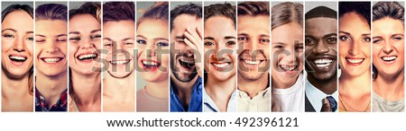 Laughing people. Group of happy multi ethnic men, women, children