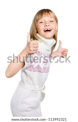 laughing preteen girl makes thumb up sign isolated over white