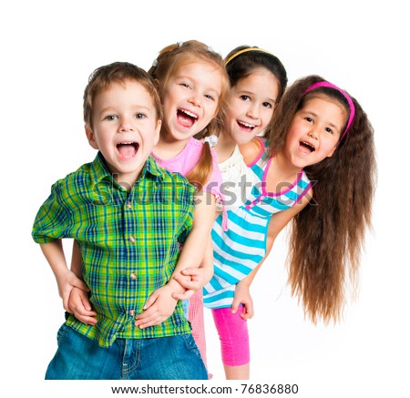 laughing small kids on a white background #76836880