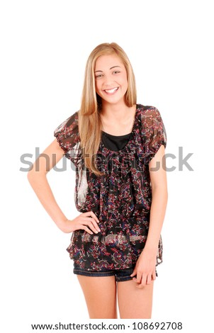 Laughing teen girl in shorts