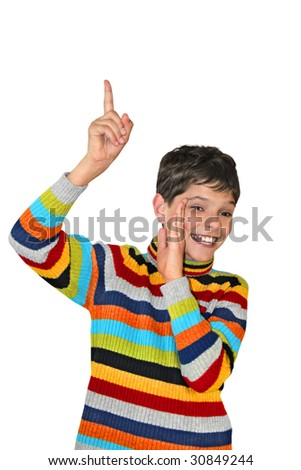 Laughing teenager pointing up and smiling. Isolated on white