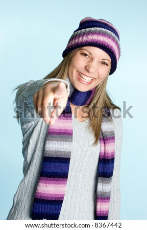 Laughing Winter Girl