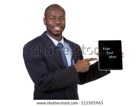 Laughing Young African American Male Businessman Holding a Touch Pad Tablet PC on Isolated White Background