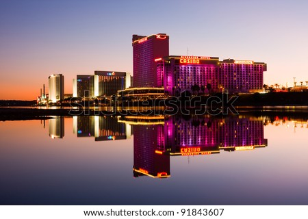 LAUGHLIN - DECEMBER 26: Casinos along the Colorado River in Laughlin, Nevada on December 26, 2011. Laughlin is the third most visited casino and resort destination in the state of Nevada. - stock photo