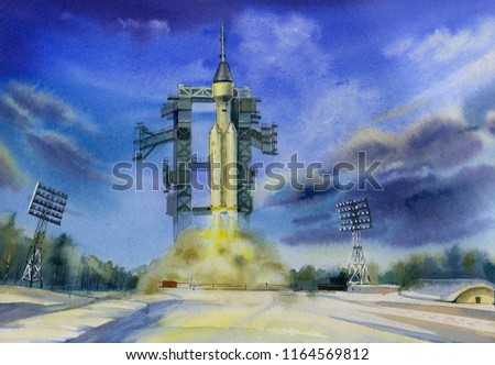 Launch of the Angara-A5P rocket and Federation spacecraft from the Vostochny Cosmodrome. Spaceport. Manned space exploration. Ilustration. Picture