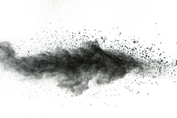Launched black dust isolated on white background. Black powder splash on white background.