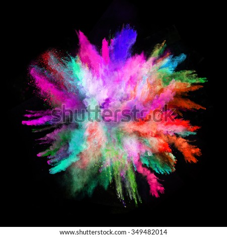 Launched colorful powder, isolated on black background - Shutterstock ID 349482014