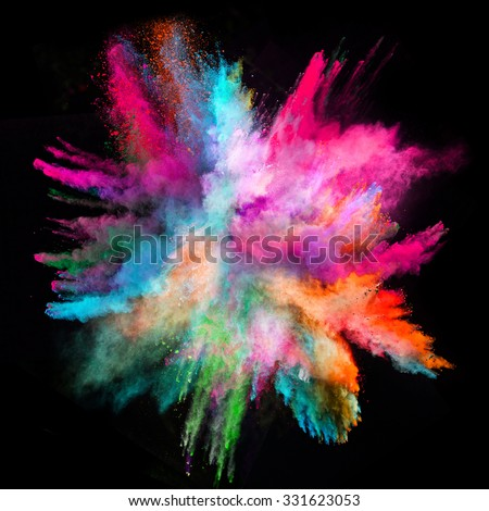 Launched colorful powder on black background #331623053