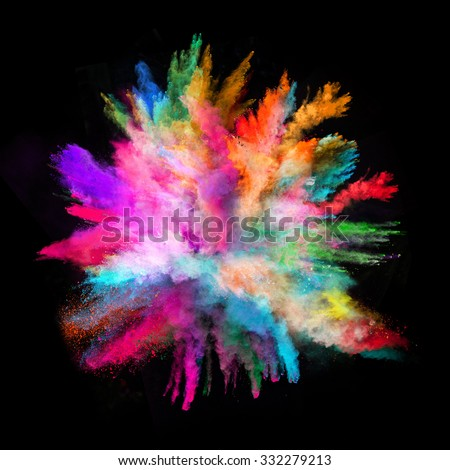 Launched colorful powder on black background - Shutterstock ID 332279213