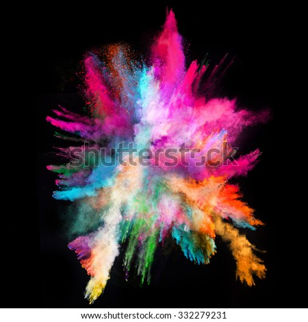 Launched colorful powder on black background #332279231