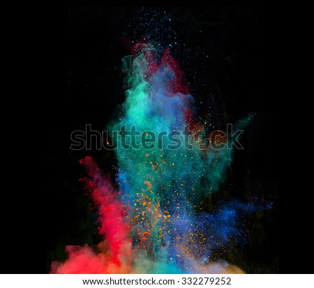 Launched colorful powder on black background #332279252