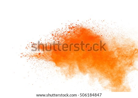 Launched orange powder on black background #506184847