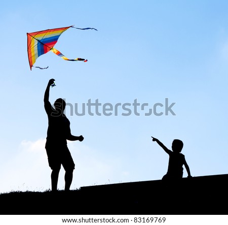 Launching a kite.