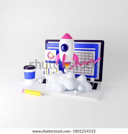 Launching new product or service. Technology development process. Space rocket launch. 3d render