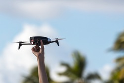 Launching quadcopter. personal aircraft flying toy