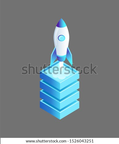 Launching spaceship flying rocket raster isolated isometric icon 3d. Cylindrical launcher ship with window standing on base pedestal ready to fly