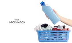 Laundry basket dirty wash clean bottle of liquid powder conditioner softener in hand pattern on white background isolation