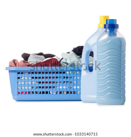 Laundry basket dirty wash clean bottle of liquid powder conditioner softener on white background isolation