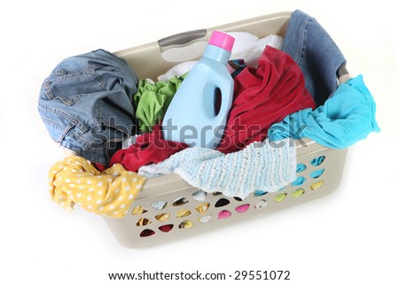Laundry Basket With Clothing and Detergent Ready to Be Washed