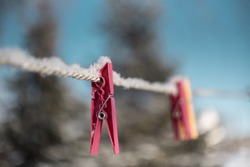 Laundry clippers, pegs frozen in the snow