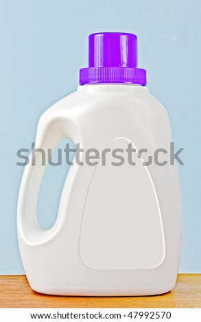 Laundry detergent plastic bottle with blank white label for your text or logo - stock photo