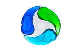 laundry detergent pod on white background