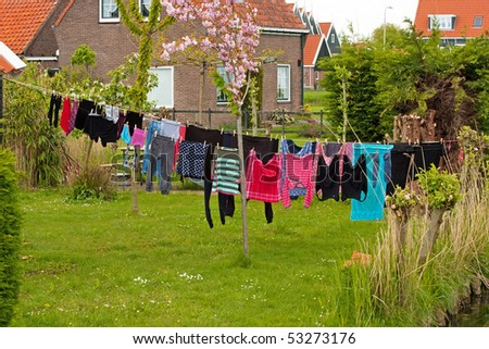 Laundry hanging on clothesline in the village Marken, Netherlands