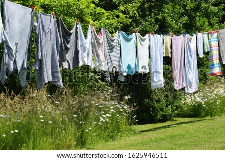 Laundry hangs on a leash to dry in the garden