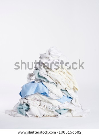 laundry heap on the white...