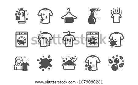 Laundry icons. Dryer, Washing machine and dirt shirt. Laundromat, hand washing, laundry service icons. Classic set. Quality set.