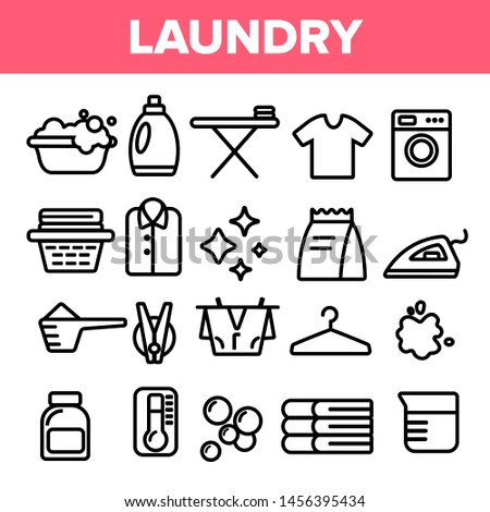 Laundry Line Icon Set . Washing Machine. Clean Dry Cotton. Cloth Laundry Pictogram. Thin Outline Illustration