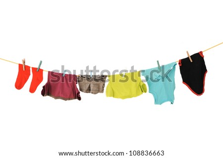 Laundry line with clothes on a white backround