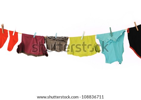 Laundry line with clothes on a white backround #108836711