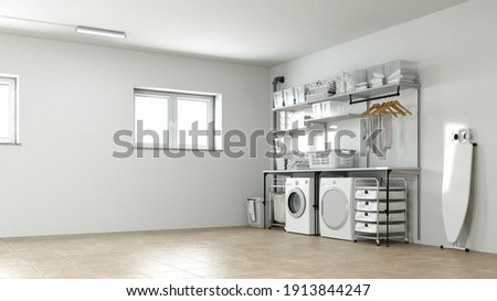 Laundry room and drying room in the basement with household appliances (3d rendering) Foto stock ©
