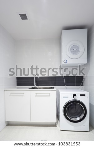 Laundry room in new apartment.