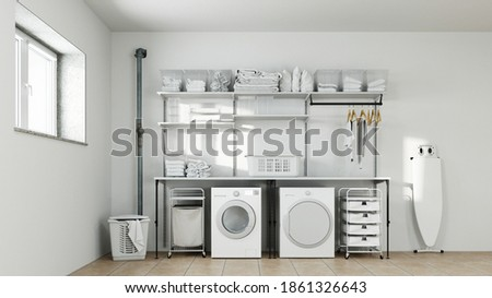 Laundry room in the basement with washer and dryer and laundry basket (3D Rendering) Foto stock ©