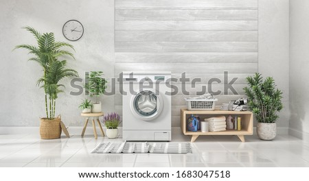 Laundry room with white wall and wooden wall,flowers. 3d illustration