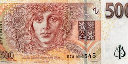 Laureate woman symbolizing all woman characters in Nemcova's books. Portrait from Czech Republic 500 Korun 2009 Banknotes. An Old paper banknote, vintage retro. Famous ancient Banknotes. Collection.