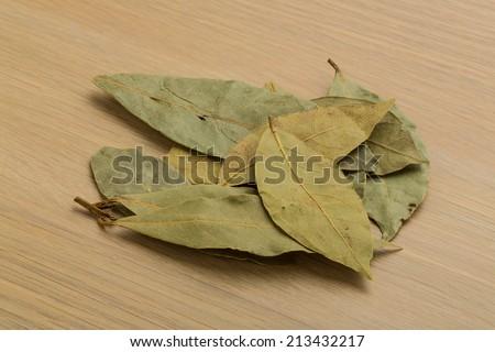 Laurel leaves heap on the desk