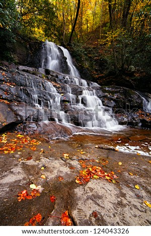 Laurel waterfall. Great Smoky Mountains National Park, Tennessee, USA