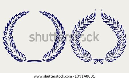 Laurel wreath. Doodle style. Raster version