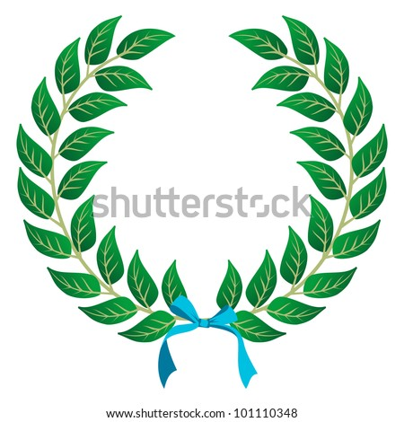Laurel wreath with a sky blue ribbon over white background.