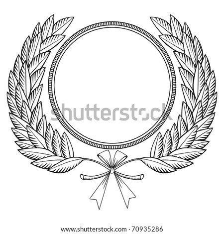 Laurel wreath with bow, woodcut style. Vector version also available in my portfolio.