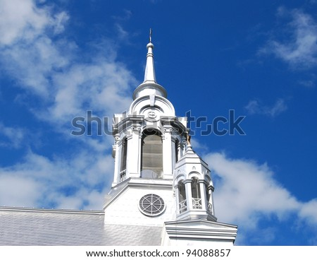 Laurentians Mountains Church Top in Montreal, Canada